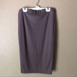 Boohoo Greige Ribbed Midi Skirt